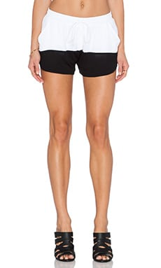 Heather Silk Drawstring Short in White & BLack