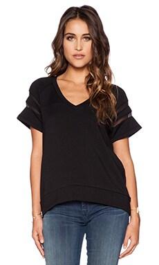 Heather V Neck Pullover in Black