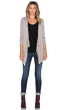 Heather Silk Back Waterfall Cardigan in Birch