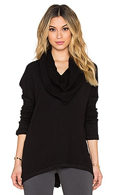 Heather Cowl Neck Sweater in Black