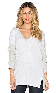 Heather V-Neck Sweater in Heather White