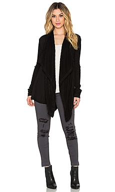 Heather Waterfall Cardigan in Black