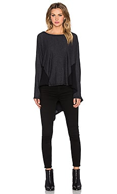 Heather Cotton & Gauze Dolman Sweater in Black