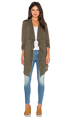 Linen Waterfall Cardigan en Olive Chiné