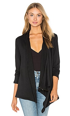 French Terry Shoulder Zip Jacket in Black