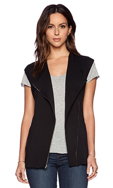 Heather Zip Fleece Jacket Vest in Black