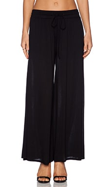 Heather Pleated Palazzo Pant in Black