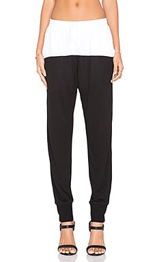 Heather Colorblock Silk Pant in Black & White