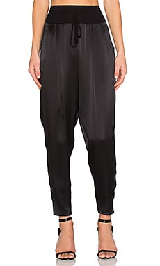 Heather Silk Satin Jogger in Black
