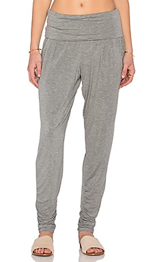 Foldover Pencil Pant en Gris Clair Chiné