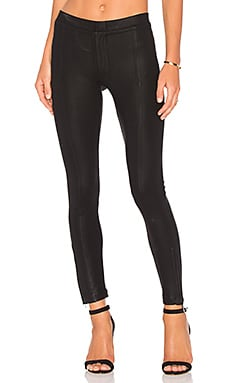 Heather Coated Skinny Ankle Zip Pant in Black