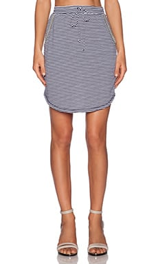 Heather Stripe Drawstring Skirt in Navy & White