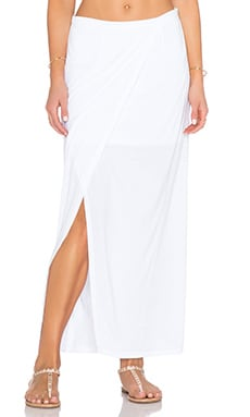 Heather Wrap Maxi Skirt in White