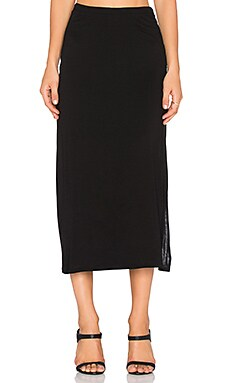 Heather Straight Slit Skirt in Black