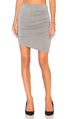 Heather Asymmetric Twist Skirt in Light Heather Grey