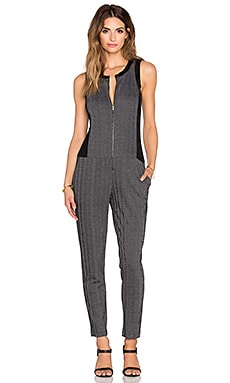 Heather Chevron Block Jumpsuit in Black