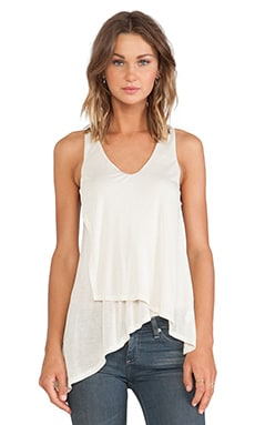 Heather V Neck Layer Top in Eggshell