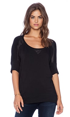 Heather Leather & Fleece Baseball Top in Black