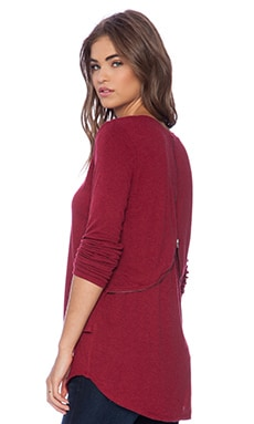 Heather Long Sleeve V Neck Top in Heather Crimson