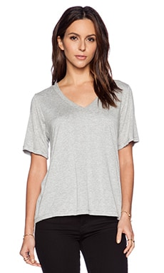 Heather V Neck Tee in Light Heather Grey
