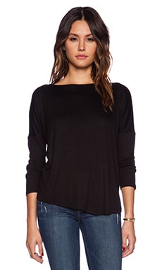 Heather Long Sleeve V Hem Top in Black