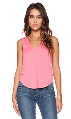 Heather Sleeveless Double V Neck Top in Peony