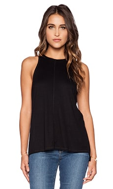 Heather Slit Back Rib Tank in Black