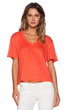 Heather Linen V Neck Top in Watermelon