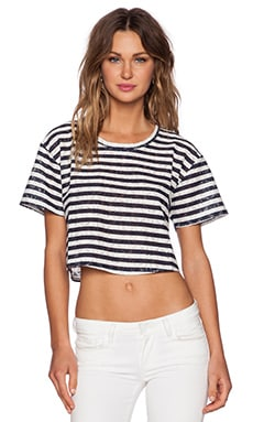 Heather Printed Lace Crop Top in Stripe