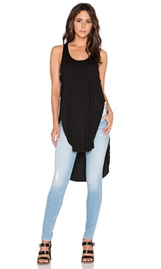 Heather Deep Slit Hi-Low Tunic in Black