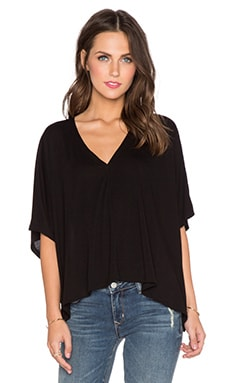 Heather Boxy Slit Back Crop Top in Black