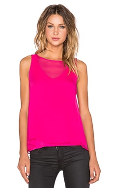 Heather Silk Overlay Double Layer Tank in Dahlia