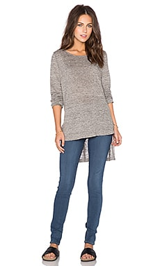 Heather Long Sleeve Linen Hi Lo Top in Heather Grey