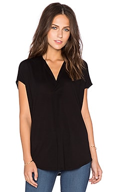 Heather Split Neck Top in Black