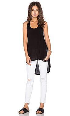 Heather Split Hi Lo Racer Tank in Black