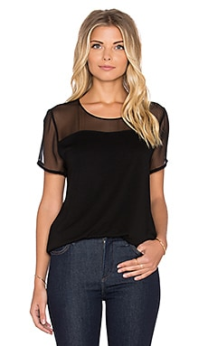 Heather Silk Yoke Tee in Black