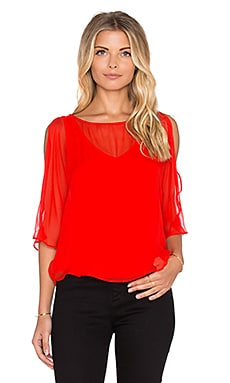 Heather Silk Split Sleeve Top in Scarlet