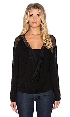 Heather Long Sleeve Lace Wrap Top in Black