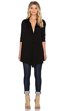 Heather Long Sleeve Trapeze Button Down in Black