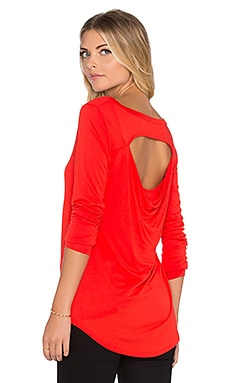 Heather Long Sleeve Peekaboo Back Top in Scarlet