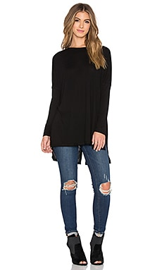 Heather Slouchy Split Back Top in Black