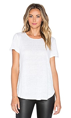 Heather Linen Pleat Back Tee in White