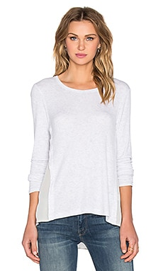 Silk Overlay Slouchy Top in Heather White