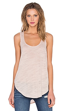 Heather Cotton & Gauze Panel Tank in Dusty Rose