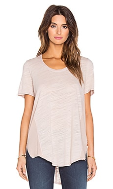 Heather Cotton & Gauze Scoop Neck Tee in Dusty Rose