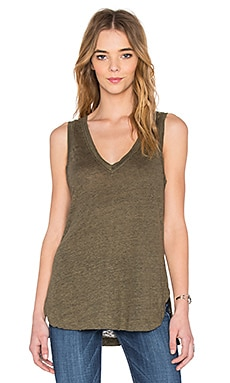 Heather Linen V-Neck Tank in Heather Olive