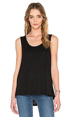 Scoop Neck Boxy Tee in Black