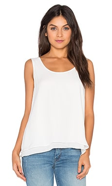 Heather Silk Double Layer Tank in White
