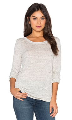 Linen Long Sleeve Tee on Heather White