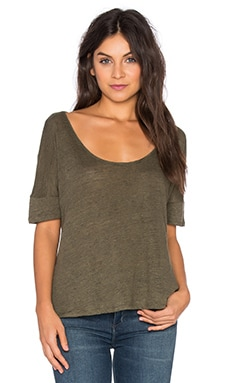 Heather Linen Scoop Neck Top in Heather Olive